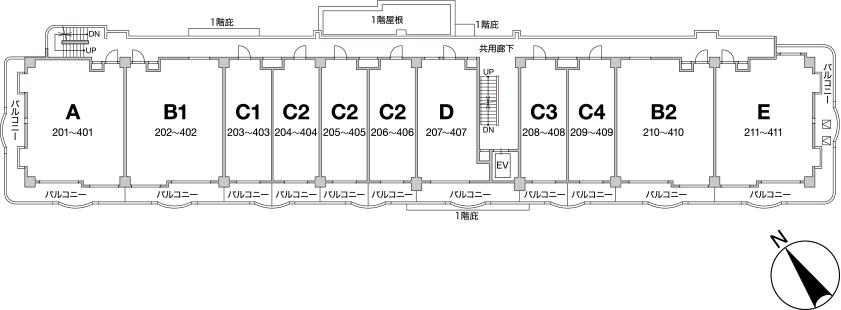 2階〜4階平面図